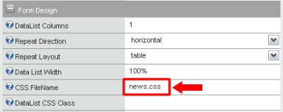 Screenshot showing how the CSS file is attached to the NewsEdit Form