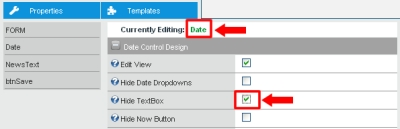 Screenshot showing how to disable the textbox of the Date Control