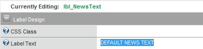 Default Text for lbl_NewsText label control