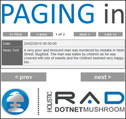 How to Implement Paging with DotNetMushroom RAD for DotNetNuke