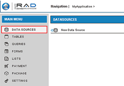 Screenshot - Data Sources button and the Data Sources pane