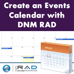 Creating an Events Calendar for DotNetNuke using DotNetMushroom RAD