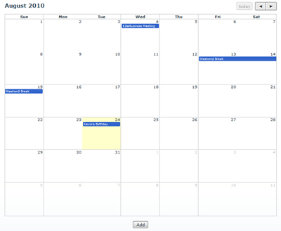 DNN Calendar Application Built With DNM RAD