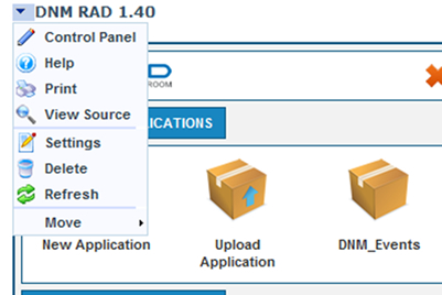 DotNetMushroom RAD module settings button