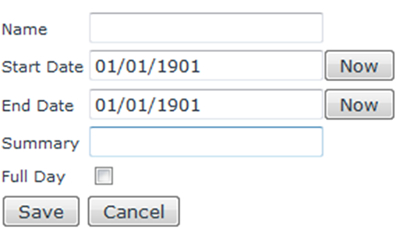 Screenshot of form to add a New Event