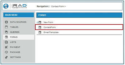 Click on 'ContactForm'